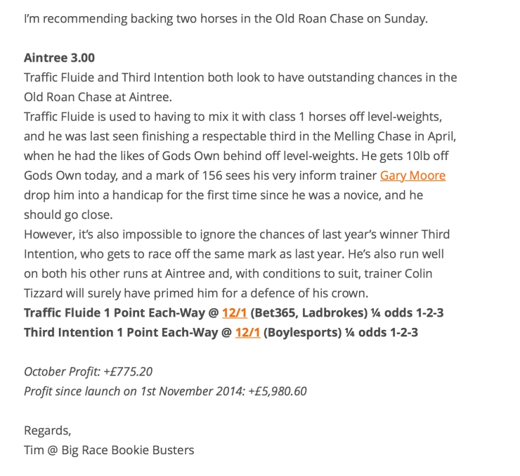 Big Race Bookie Busters 29th Oct