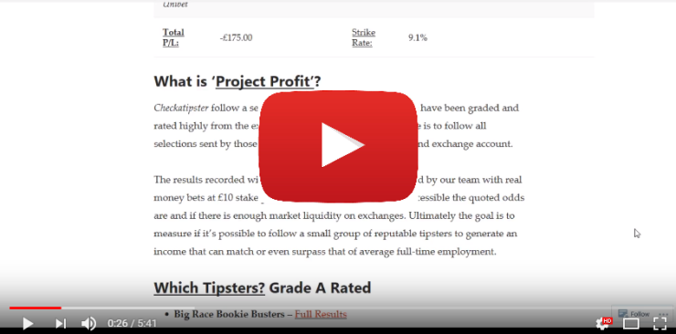 Project Profit - Make an Income from a Tipster Portfolio - 25th October 2017 VideoUpdate